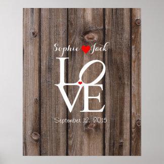 Alternativer Hochzeitsgastbuch LIEBE-Holzeffekt Poster