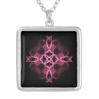 Alternatives Goth rosa keltisches Kreuz Halskette Mit Quadratischem Anhänger