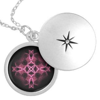 Alternatives Goth rosa keltisches Kreuz Runde Medaillon Halskette