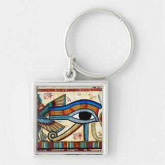 Altes Ägypten-AUGE VON HORUS Wadjet Keychain Silberfarbener Quadratischer Schlüsselanhänger