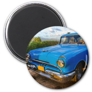 Altes amerikanisches klassisches Auto in Trinidad, Runder Magnet 5,7 Cm