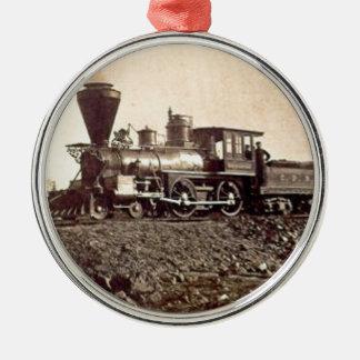 altes BahnVintages des Zugdampfschienen-Motors Silbernes Ornament