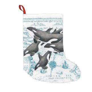Altes Blau der Schwertwalwal-Familie Kleiner Weihnachtsstrumpf