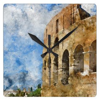 Altes Colosseum in Rom Italien Quadratische Wanduhr
