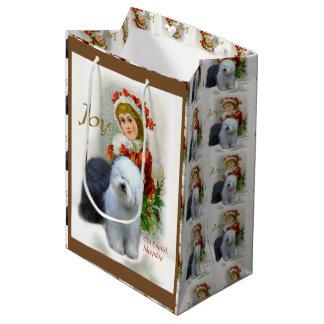 Altes englisches Schäferhund-Weihnachten Mittlere Geschenktüte