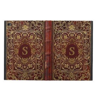 Altes Leder vergoldete Bucheinband-Monogramm