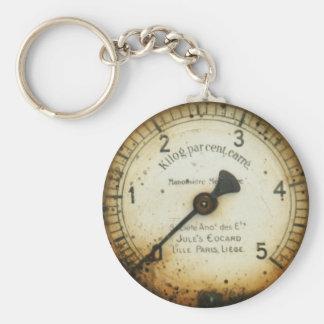 altes Öldruckmessgerät/-instrument/-skala/-meter Standard Runder Schlüsselanhänger