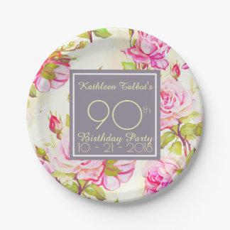 Altes Rosen-90. Geburtstags-Party-Papierplatte Pappteller