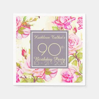 Altes Rosen-90. Geburtstags-Party-Papierserviette Papierserviette