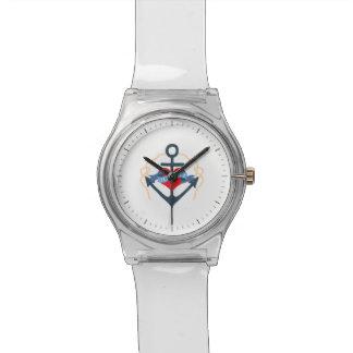 Altes Salz-Schiffs-Anker und Herz Armbanduhr