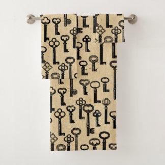 Altes Vintages Schlüssel-Muster Badhandtuch Set