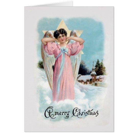 Altmodische Weihnachtskarte des Engels-1906 Grußkarte