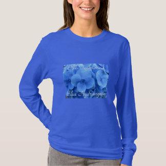 Altmodisches blaues die Hydrangeas-Shirt der