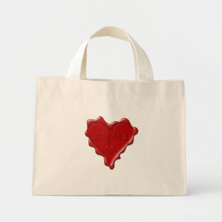 Alyssa. Rotes Herzwachs-Siegel mit NamensAlyssa Mini Stoffbeutel