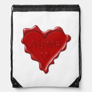 Alyssa. Rotes Herzwachs-Siegel mit NamensAlyssa Sportbeutel