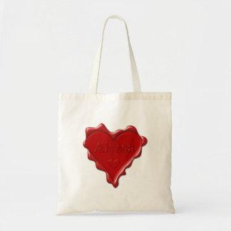 Alyssa. Rotes Herzwachs-Siegel mit NamensAlyssa Tragetasche