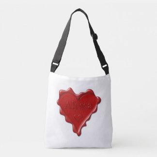 Alyssa. Rotes Herzwachs-Siegel mit NamensAlyssa Tragetaschen Mit Langen Trägern