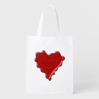 Alyssa. Rotes Herzwachs-Siegel mit NamensAlyssa Wiederverwendbare Einkaufstasche