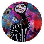 Amant d'EL Gato de Dia de los Muertos Cat Horloge Murale