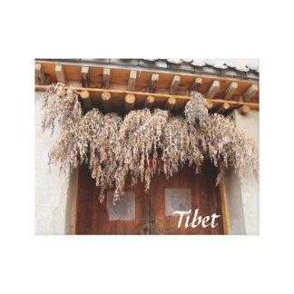 Amdo tibetanische traditionelle Dorf-Holztür Leinwanddruck
