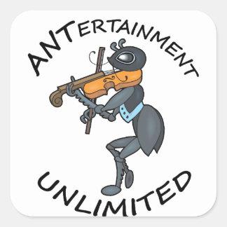 AMEISE Unterhaltung unbegrenzt, Geige spielend Quadratischer Aufkleber