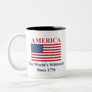 Amerika die Wildcard der Welt seit 1776 Zweifarbige Tasse