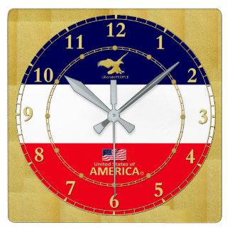 Amerika färbt Goldzahl-modernes Wanduhr-Geschenk Quadratische Wanduhr