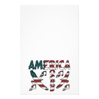 Amerika-Felsen mit Eagles u. musikalischen Briefpapier