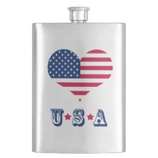 Amerika-Flagge amerikanisches USA-Herz Flachmann