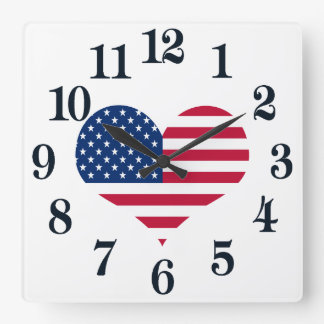 Amerika-Flagge amerikanisches USA-Herz Quadratische Wanduhr