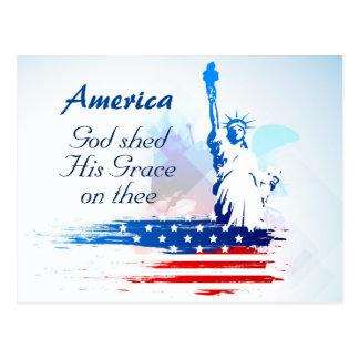 Amerika-Gott verschüttete seine Anmut auf Thee Postkarte