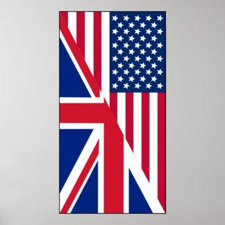 Amerikaner-und Gewerkschafts-Jack-Flaggen-Plakat Poster