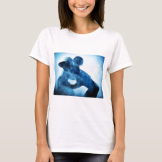 Amerikanisch-Fußball-Spieler-Silhouette-einporträt T-Shirt