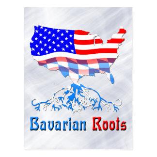 Amerikanische bayerische Wurzel-Karte Postkarte