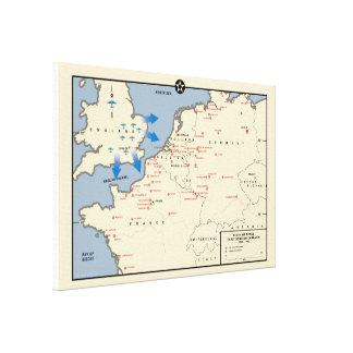 Amerikanische Bomber-Kampagnen-Karte, England 1942 Leinwanddruck