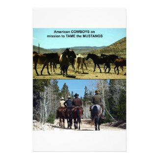Amerikanische Cowboys auf Reise zu den Briefpapier