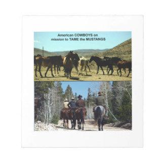 Amerikanische Cowboys auf Reise zu den Notizblock
