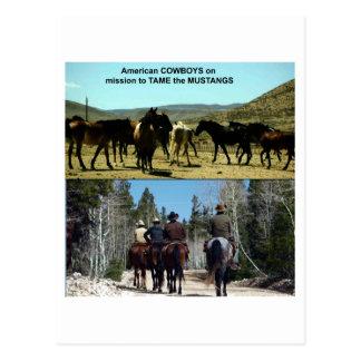 Amerikanische Cowboys auf Reise zu den Postkarte