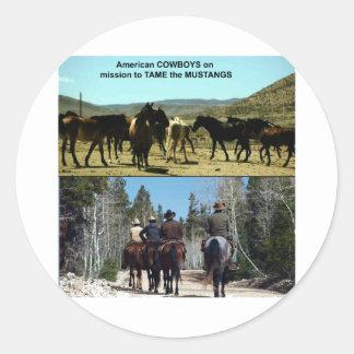 Amerikanische Cowboys auf Reise zu den Runder Aufkleber