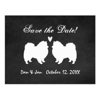 Amerikanische Eskimohunde, die Save the Date Postkarten