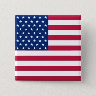 Amerikanische Flagge 4. USA des patriotischen Quadratischer Button 5,1 Cm