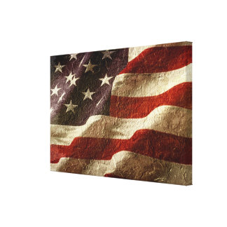 Amerikanische Flagge geschnitzt im Stein Leinwanddruck