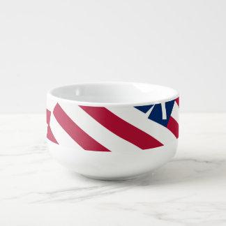 Amerikanische Flagge in der Deckung Große Suppentasse