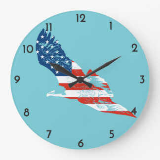 Amerikanische Flagge in Eagle Große Wanduhr
