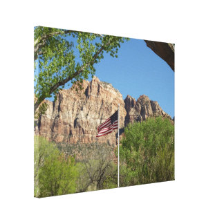 Amerikanische Flagge in Zion Nationalpark II Leinwanddruck
