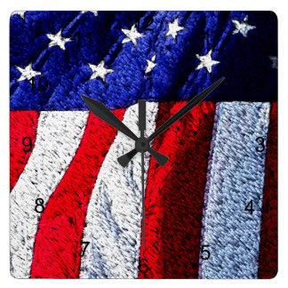 Amerikanische Flagge Quadratische Wanduhr