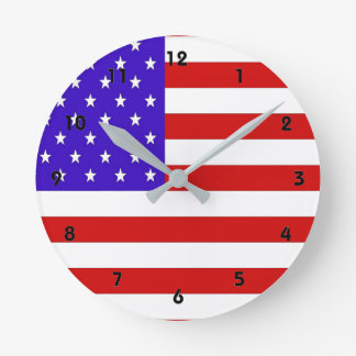 Amerikanische Flagge Runde Wanduhr