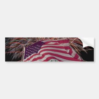 Amerikanische Flagge und Feuerwerke Autoaufkleber