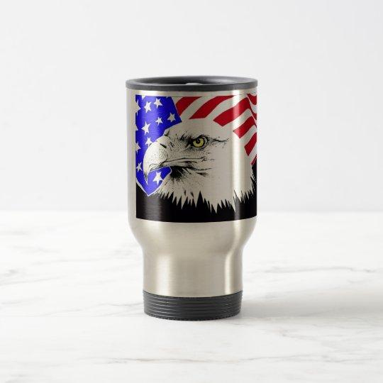 Amerikanische Flagge und Weißkopfseeadler Reisebecher