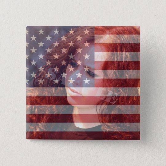 Amerikanische Flagge USA kundengerecht mit Foto Quadratischer Button 5,1 Cm